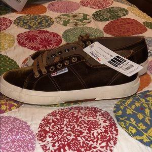 NWT Superga camel brown velvet sneakers-8.5